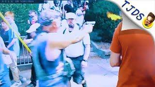 Video: Racist Protestor Fires Gun - Charlottesville Cops Ignore