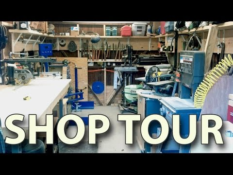 Workshop tour - my home Woodshop - shop organizing ideas - shop projects and lathes