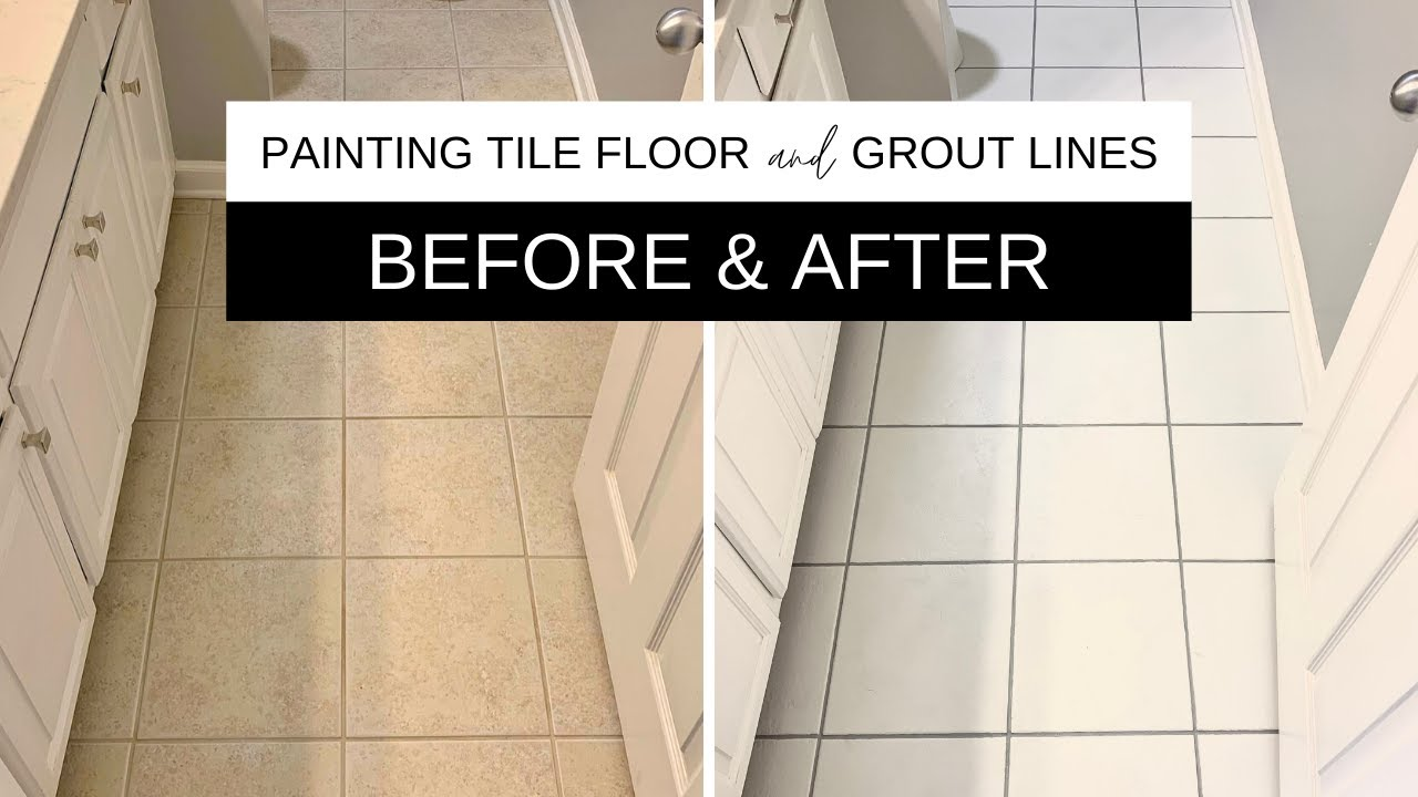 Painting Tile Floor And Grout Lines A Success Youtube