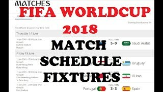 FIFA World Cup 2018   Football Matches Time Table   Dates   Schedule   Fixtures