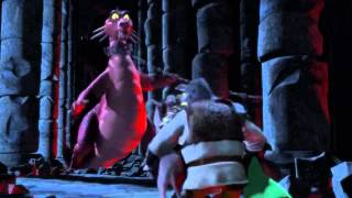 Shrek, Fiona and Donkey escape from the dragon