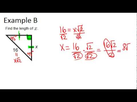 45 45 90 Right Triangles Examples Geometry Concepts