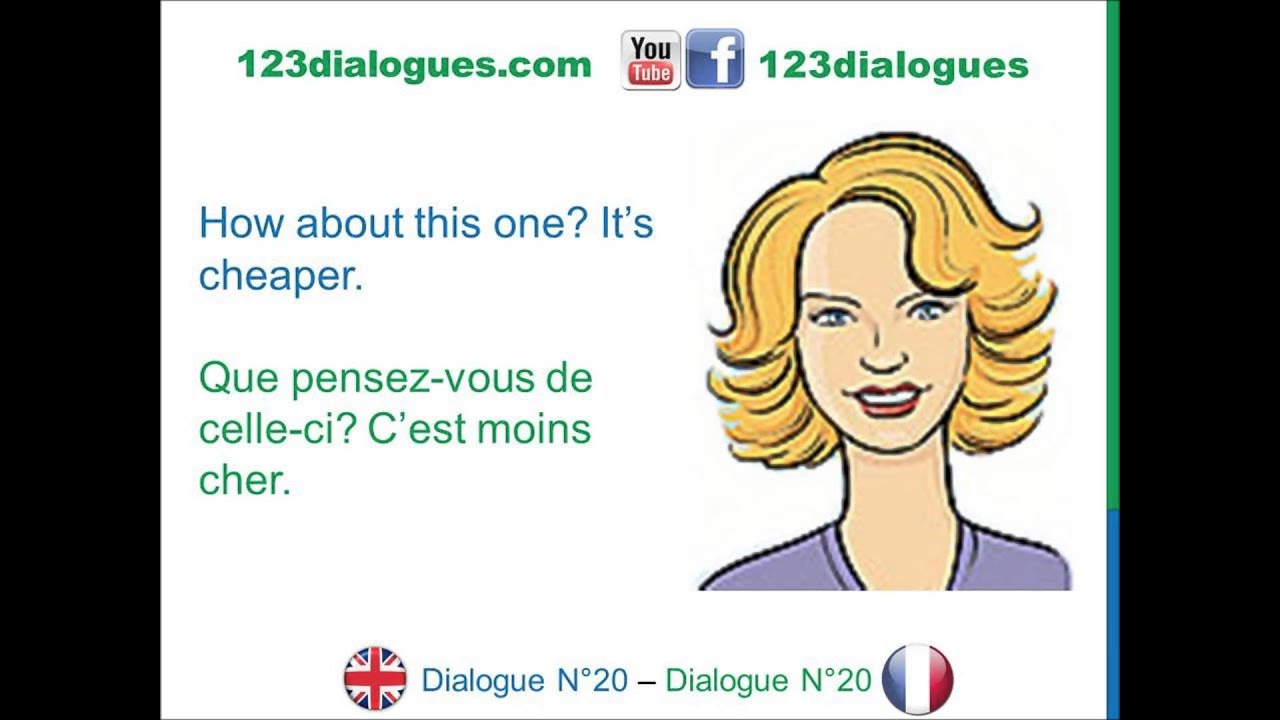 812c29693c6 Dialogue 20 - English French Anglais - Shopping for clothes How much is it   - Combien ça coûte