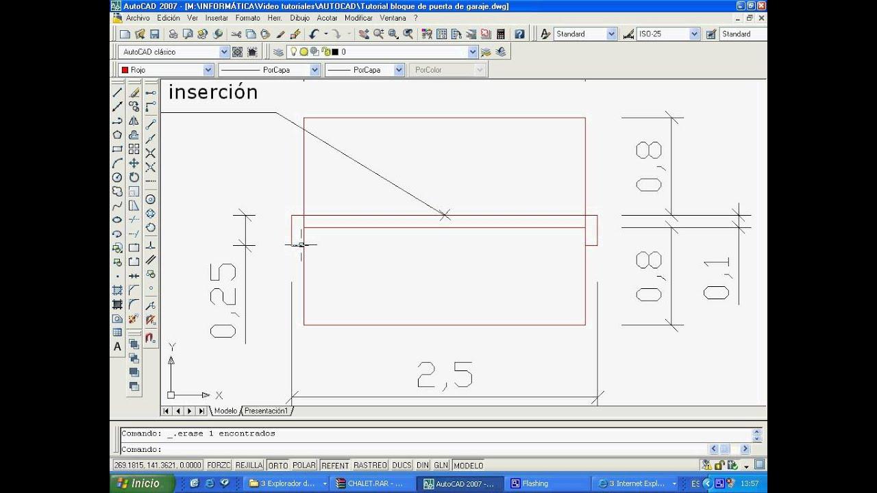 CURSO DE AUTOCAD. Video 13: Dibujar y crear el bloque PUERTA DE ...