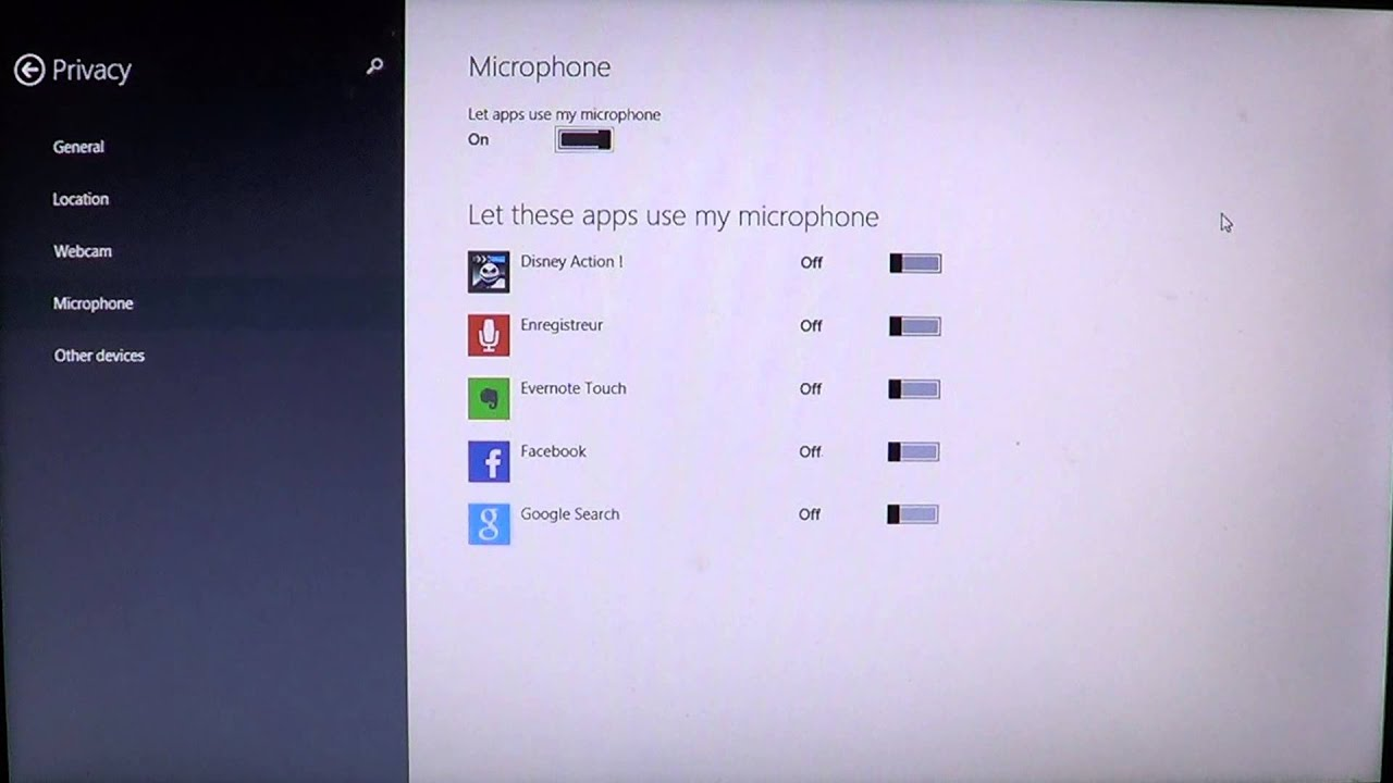 Windows 8 1 How to change microphone privacy settings for apps