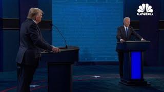 President Donald Trump and Joe Biden debate increasing minimum wage and helping small businesses