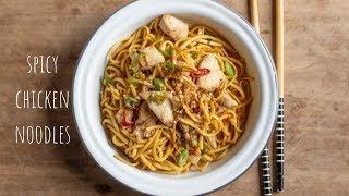 Spicy Chicken Noodles -  Tasty One Pan Campervan Cooking Recipe