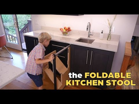 This Kitchen Step Stool Folds In And Out By Hideaway Solutions