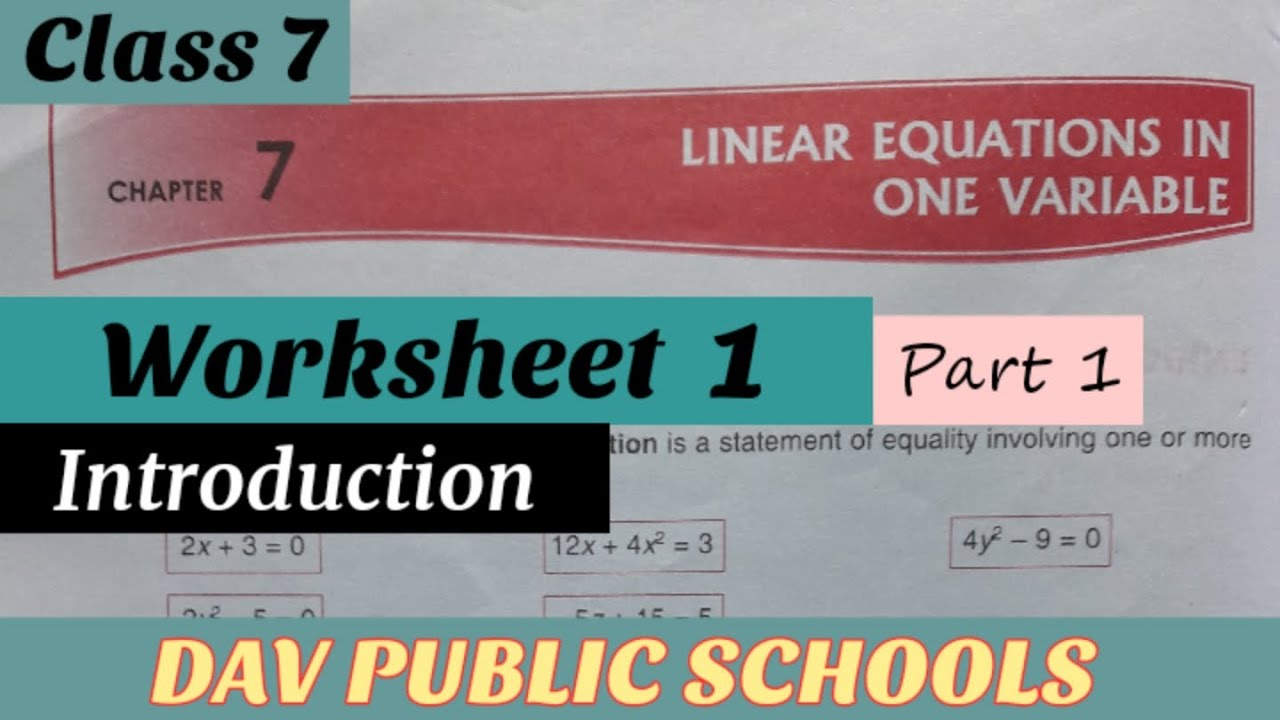 DAV class 7 Linear Equations in One Variable Worksheet 1 Part 2 - YouTube [ 720 x 1280 Pixel ]
