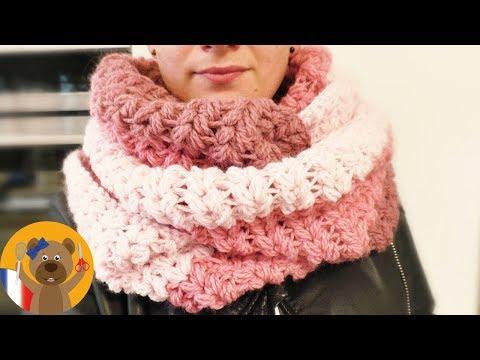 Faire une écharpe XXL au crochet 💗 V-Stitch et Puff Stitch | Vraiment très agréable pour l'hiver