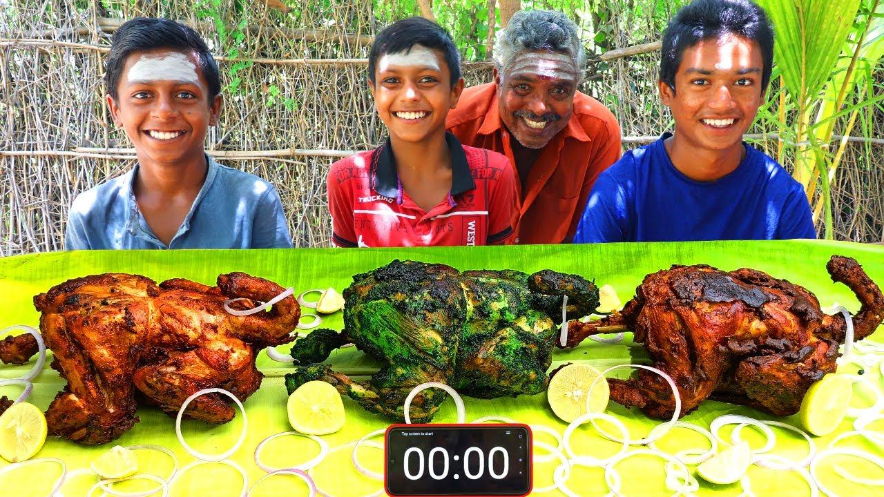 3 FULL CHICKEN EATING CHALLENGE | WHOLE CHICKEN FRY EATING COMPETITION | FULL CHICKEN FRY EATING