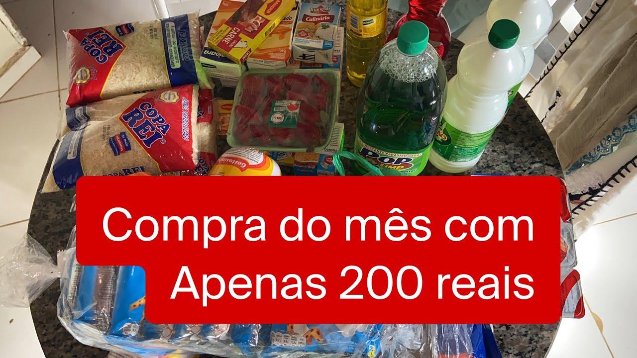 DESAFIO:  COMPRAS DO MÊS COM APENAS 200 REAIS !!! O QUE CONSEGUI COMPRAR ???