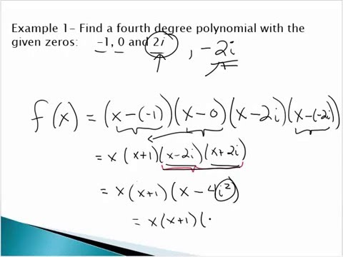Find a Polynomial Given Complex Zeros - YouTube