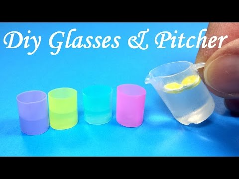 DIY Miniature Realistic Glasses (Cups) & Pitcher