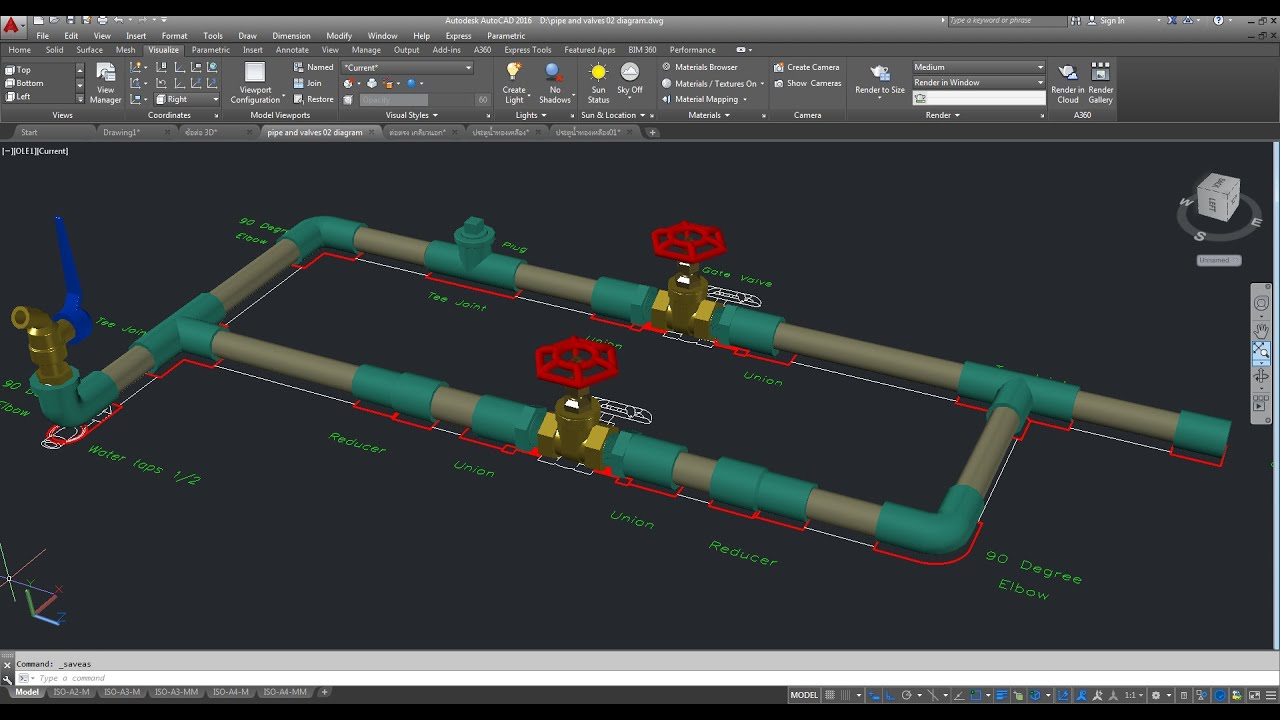 piping system 3D Modeling AutoCAD