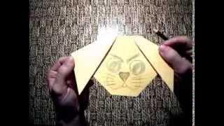 Как сделать: мордочку щенка из бумаги. Оригами - мастер класс. Видео урок со схемой.