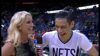 Jeremy Lin highlights + postgame courtside interview #G73vsHawks(中文字幕CC)