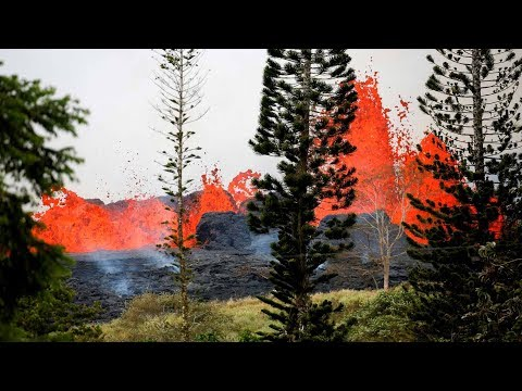 Lava from Kilauea volcano explodes in Hawaii