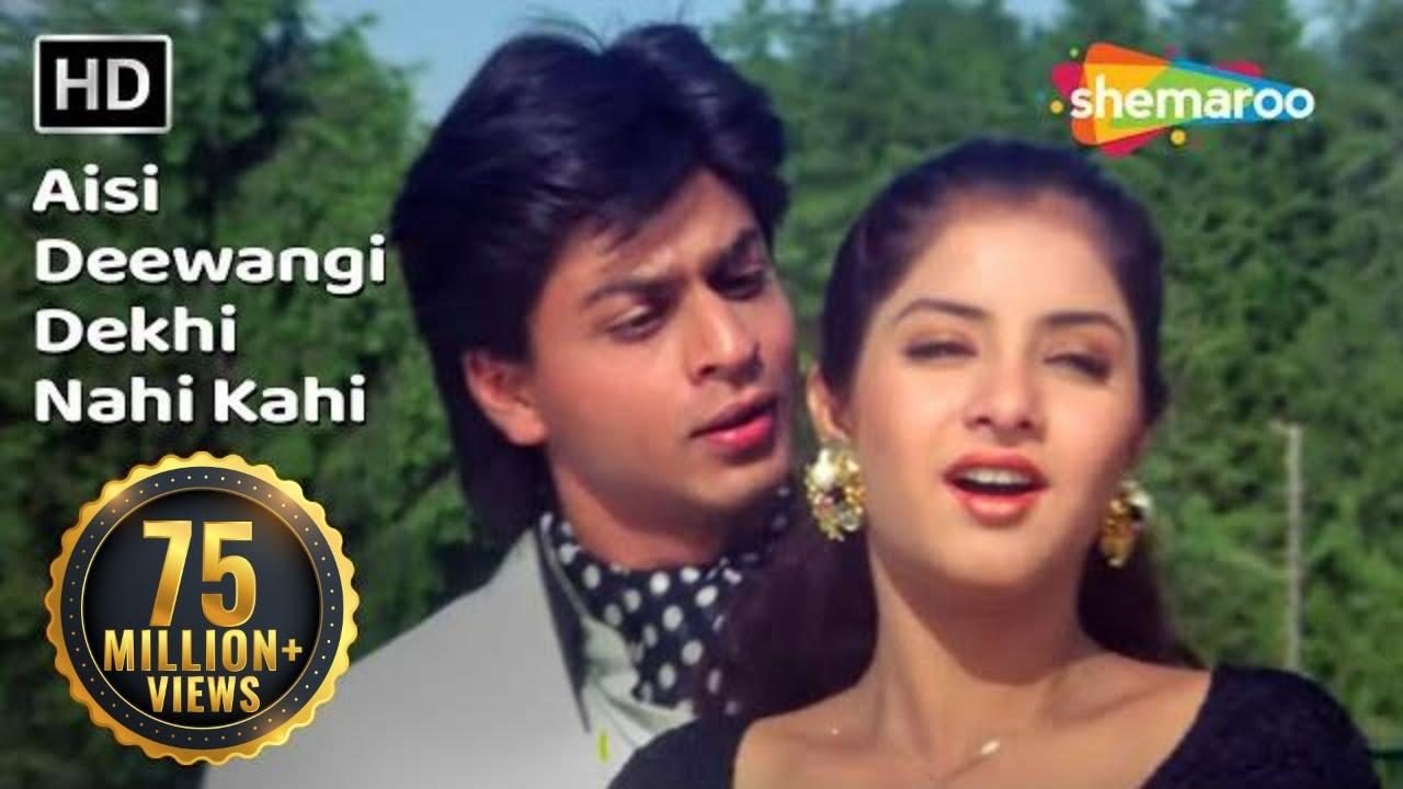 Aisi Deewangi Dekhi Nahi Kahi   Deewana Song   Shah Rukh Khan   Divya Bharti   Most Viewed Song