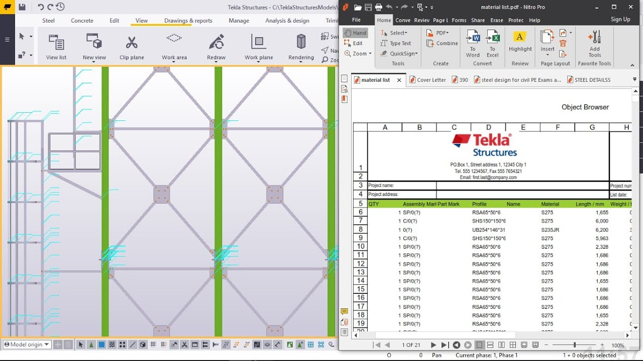 How to generate Material List from a model in Tekla Structures