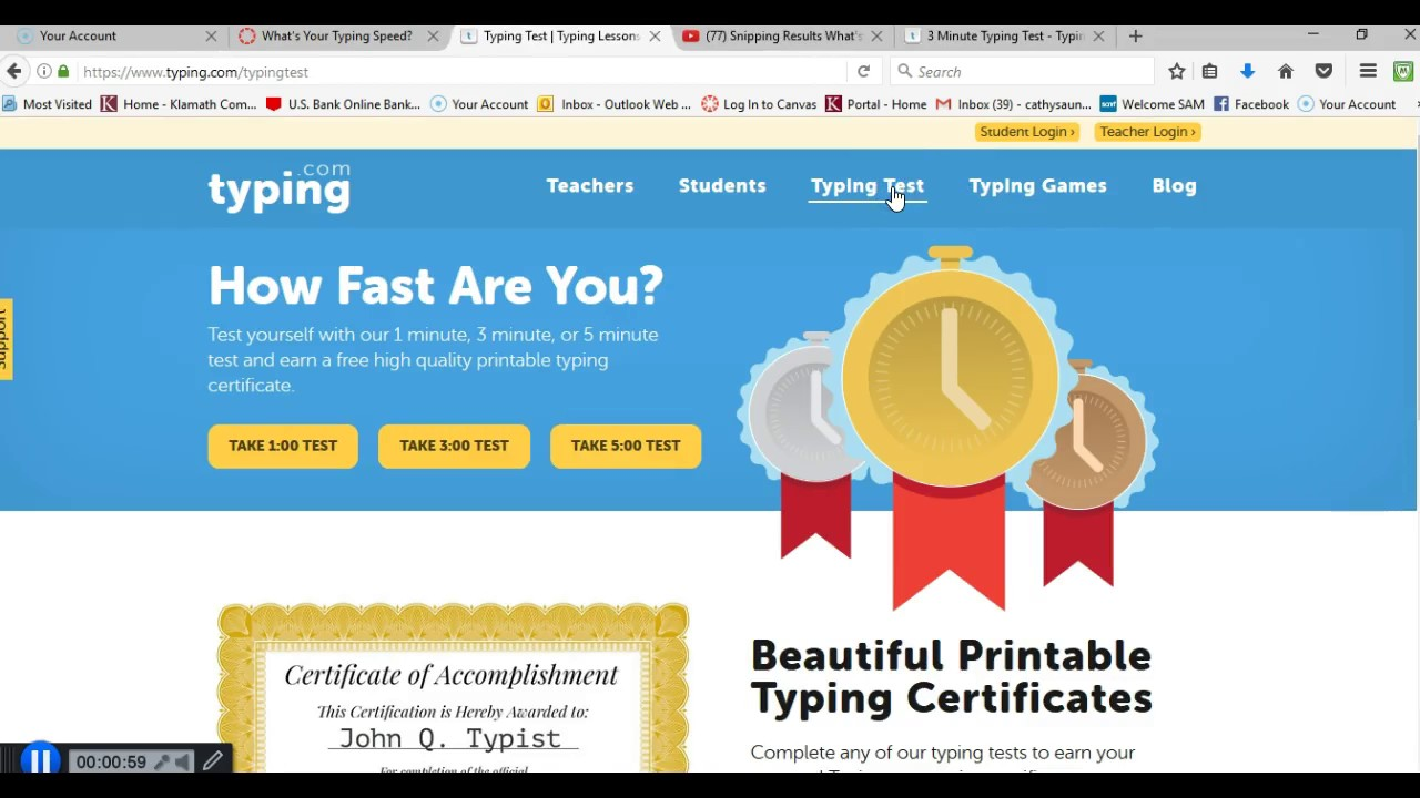 Taking The Timed Typing Test