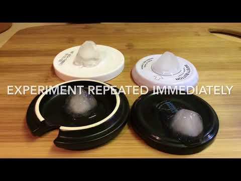 Melting ice cubes - metal vs ceramic vs plastic