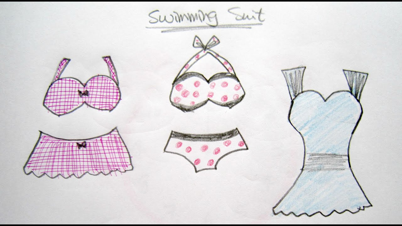 How To Draw Cartoon Swimming Suits 卡通泳衣 Easy Drawing Tutorial