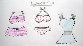 How to Draw Cartoon Swimming Suits 卡通泳衣 - Easy Drawing Tutorial for Beginners