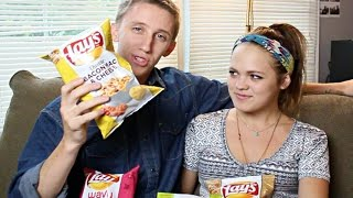 Lay's #dousaflavor Challenge With Girlfriend! Cappuccino Flavored Chips?!