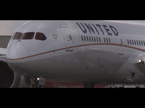 SUPER CLOSE-UP & LOUD SPOOL - Intense United 787-9 Takeoff Melbourne - [N38950]