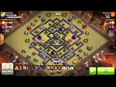 Coc how to attack th9 in war gameplay trailers com