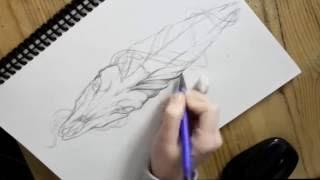 Процесс создания эскиза татуировки от Burned - Hound Tattoo (Sketch video)