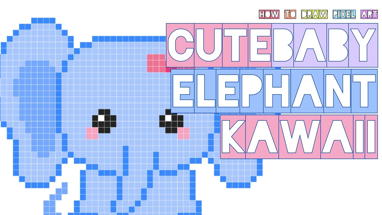 How To Draw Cute Elephant Kawaii Baby With Bow Big Ears Doodle