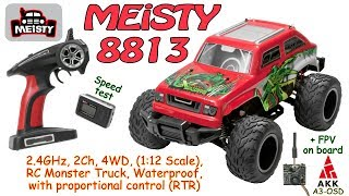 MEiSTY 8813 2.4GHz, 2Ch, 4WD, 1:12 Scale, RC Monster Truck, Waterproof (RTR) + AKK A3-OSD on board
