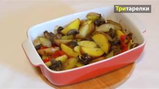 Запеченная в духовке картошка с грибами и чесноком