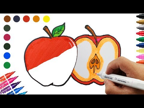 how-to-draw-&-coloring-an-apple-fruit-|-very-easy-and-cute-drawings-for-kids-|-learn-colors-for-kids