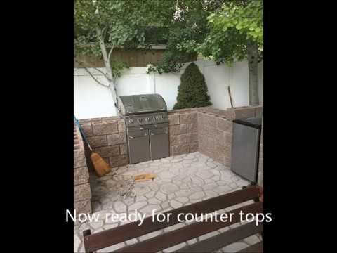 DIY  patio ideas with outdoor kitchen and fire pit using walkmaker and quikrete