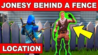 FIND JONESY HIDDEN BEHIND A FENCE LOCATION GUIDE (Downtown Drop Challenges Fortnite)