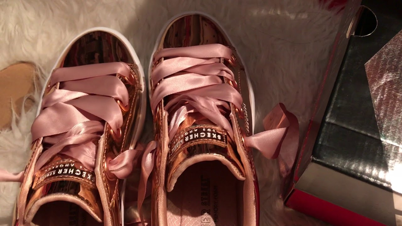 Skechers Rose Gold Street Shoes - YouTube