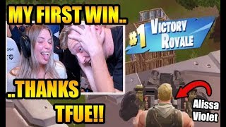 Tfue helps ALISSA VIOLET get her first win ever on STREAM