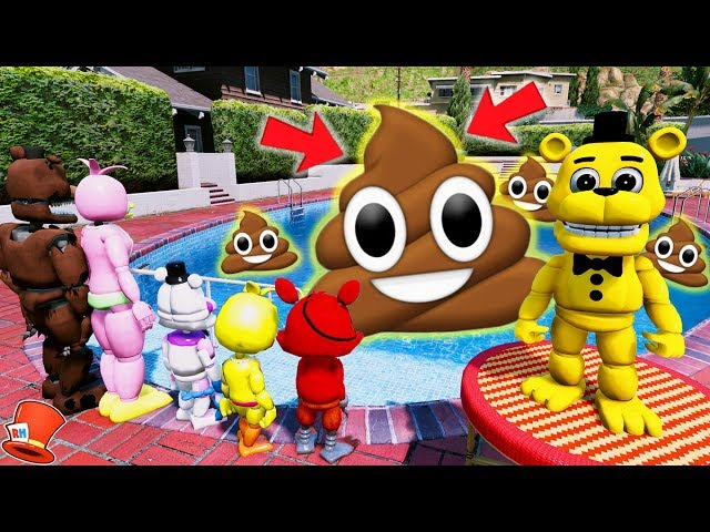 ADVENTURE GOLDEN FREDDY'S GIANT POOL OF POO PRANK! (GTA 5 Mods For Kids FNAF RedHatter)