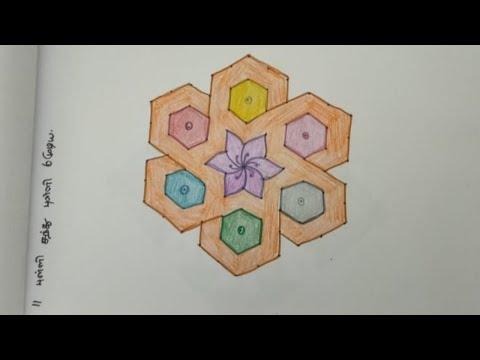 Dotted Flower Kolam - Flower Kolam with dots