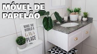 DIY:. MÓVEL DE BANHEIRO FEITO COM PAPELÃO | É A MELHOR DE DECORAÇÃO | Viviane Magalhães