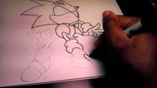 Drawing and Coloring Sonic The Hedgehog (part1)