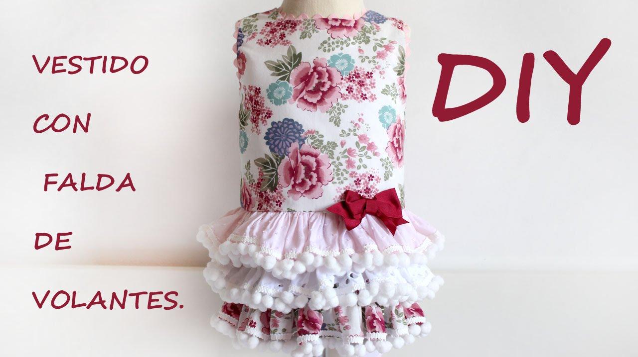3596304bc Como hacer un vestido de niña con falda de volantes. DIY - YouTube