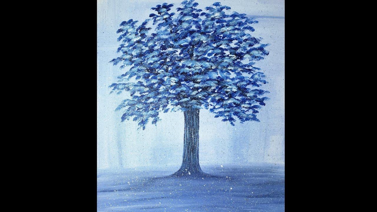 Arbre Bleu Peinture Acrylique Facile