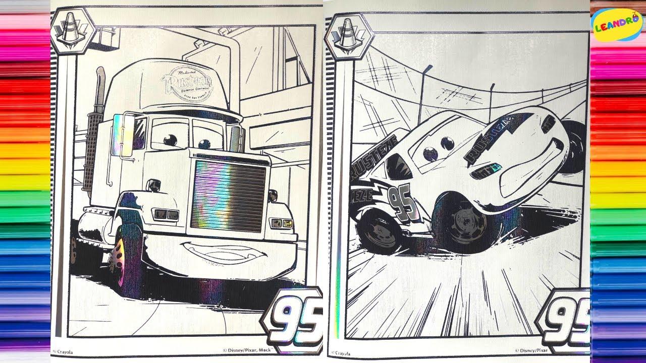 Hojas para colorear de los personajes de Cars. Colorea Rayo Mcqueen, Cruz Ramirez, Jackson Storm