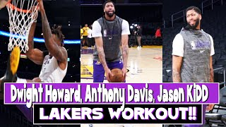 Lakers Workout | Anthony Davis how to score from elbow !!!!! Dwight Howard crazy dunk story