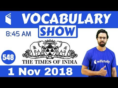 8:45 AM - The Times Of India Vocabulary with Tricks (1 Nov, 2018) | Day #548