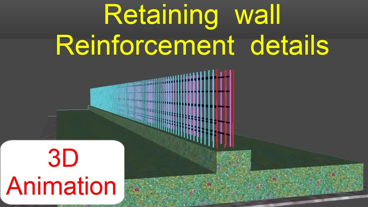 Reinforcement details of Retaining wall  15D Animation